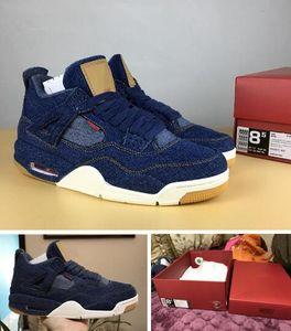 Denim 4s Jeans 4s Azul Denim Preto Branco Top Quality Com Caixa Dos Homens tamanho Sapatos de Basquete Frete grátis