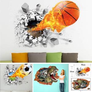 3D Stickers Muraux Pour Basket-ball Dinosaure Football Décoration de La Maison Supprimer Vie Stickers Papier Imperméable À L'eau 50 * 70 cm HH7-1673