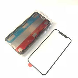 OEM Nuovo A +++ Lente frontale in vetro Touch Screen con OCA + Cornice centrale per iPhone X 10
