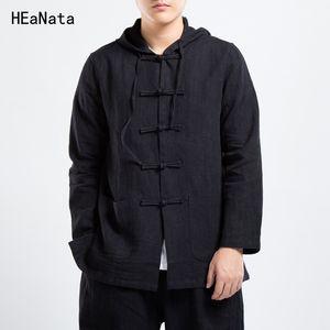 Algodón Lino Chaqueta de aviador Hombres Windbreaker 2018 Otoño Hombre Chaqueta de estilo tradicional chino Tang Suit Coat Size Plus 4XL