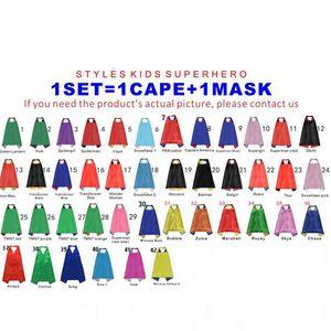 Doppelschicht 70 * 70CM Superheld Umhänge und Masken-Set Superhelden-Cosplay-Umhänge + Maske Halloween-Kap-Maske für Kinder 32 Modelle