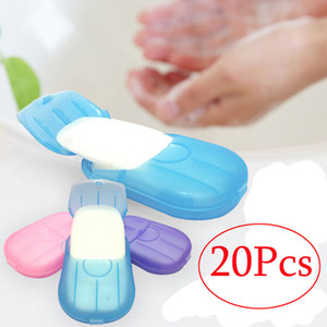 New 20pcs Outdoor Travel Soap Scented Slice Sheets Paper Washing Hand Bath Clean Wash Care with Case for Camping Hiking SC092
