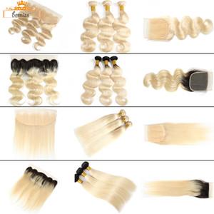 Bemiss Hair® Brasiliano Body Wave 613 Fasci di capelli umani biondi con chiusura Capelli vergini non trasformati Straight 1b 613 Bundles con frontale