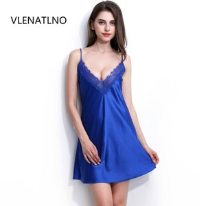 sexy women nightwear mini nightgowns tempatation deep v straps skirts free shipping summer style 2016 real silk sleepwear hot S1011
