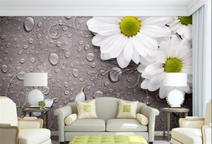Personalizado 3D Photo Wallpaper Dormitorio para Paredes White Water Droplets Fondo de la flor Decorative Wall Murals Wallpaper Sala de estar