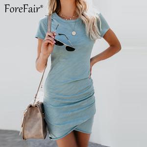 Forefair Ince Yaz Elbise 2018 Kadınlar Sundress Kısa Kollu O Boyun Dantelli Bodycon Elbise Bayanlar Casual Katı T Gömlek Elbiseler D1891212
