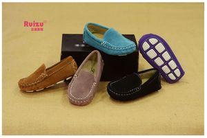Sıcak Satış Deri Yumuşak Kauçuk Taban Unisex Sütür çocuk Bezelye Ayakkabı Bebek Rahat Moda Ayakkabı Nötr Tarzı 5 Renkler