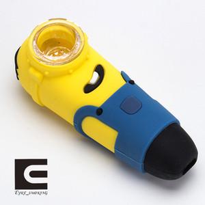 Minions Hand pipe in silicone con tubo di vetro Narghilè Wax Food grade silicone hookah pipe pipe