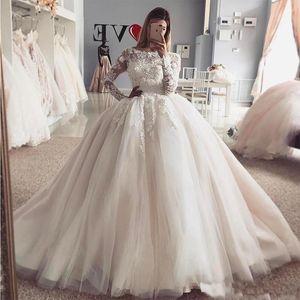 Новый дизайн Принцессы Бальное платье Свадебные платья 2019 Винтаж Прозрачные Длинные Рукава Примененные Аппликации Пухлые Тюль Арабские Свадебные платья