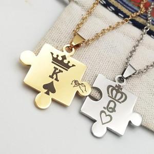 Saint-Valentin son et le sien Puzzle pièce pendentif collier trousseau ensemble couples personnalisés estampillé chaîne porte-clés