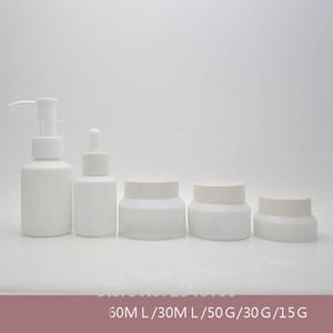 60 ML 30 ML 50G 30G 15G 10 pz / lotto Vuoto Pompa Bottiglia Lozione, Bianco cosmetico Contagocce Bottiglia, Olio Essenziale Contenitore, Vetro Crema Vaso