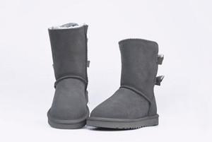 Top Hot New New Australia Australie classique bottes d'hiver bas cuir véritable bottes de neige arc Bailey Bowknot femmes