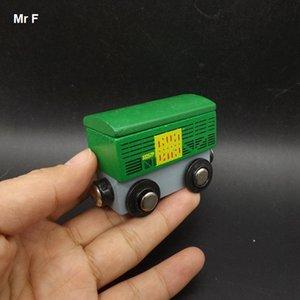 Hediye Yeşil Mini Tren Konteyner Ahşap Modeli Manyetik Araç Eğitici Oyuncaklar Mini Araç Prop Oyuncak Hediye