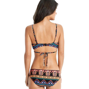 Mulheres Sexy Two-Piece Bikini Set Estilo Étnico Spaghetti Cross Bandage Swimsuit Beach Wear Maiô Monokini 2018 Novo