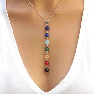 7 Chakra Gem Stone Beads Collar Colgante Mujeres Yoga Reiki Curación Equilibrio Maxi Collares Charms Bijoux Femme Joyería