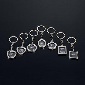 2018 Photo Frame Round Herz Apple-Oval Rhombus Form Metall-Legierung Schlüsselanhänger Schlüsselanhänger Autoanhänger Paare Schlüsselanhänger Geschäfts-Geschenk