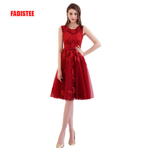 Fadistee 뜨거운 판매 우아한 칵테일 드레스 이브닝 드레스 파티 드레스 레이스 새틴 짧은 A 라인 현대 지퍼 클래식 간단한 초가 스타일