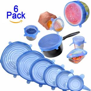 Tapas de cubierta de silicona 6 unids / set Estiramiento azul Super Stretch Cubierta de silicona Envoltorios de alimentos reutilizables Sellado Herramientas de cocina duraderas Y18110204