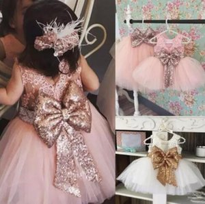Hot Selling Sweet Flower Girl Dresses White Pink Ball gowns Scoop Sleeveless Pageant Dresses for Kids with Bowknot