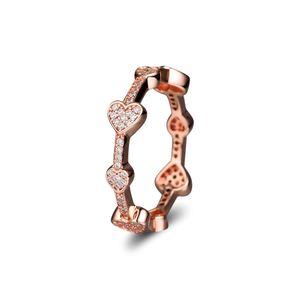 Compatível com anel de jóias Pandora prata Sedutor Corações Anel Rosa anéis de Ouro Com CZ 925 sterling silver jewelry atacado DIY Para As Mulheres