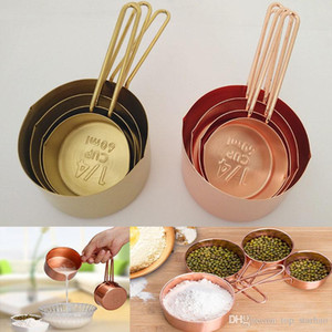 2017 New Copper Stainless Steel Measuring Cups 4 Pieces Set Kitchen Tools Making Cakes and Baking Gauges Measuring Tools XL-217