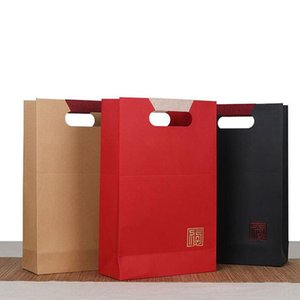 Red Wine Kraft Paper Box Double Standard Packaging Gift Bags Portable Handle Christmas Wedding Party Favors ZA5758