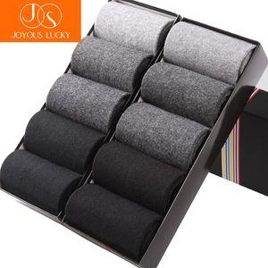 JOYOUS LUCKY 10 pares / lotes Nuevos calcetines de vestir Hombres de algodón Tubo sólido Hombres de negocios Calcetines Meias Four Seasons Solid Men