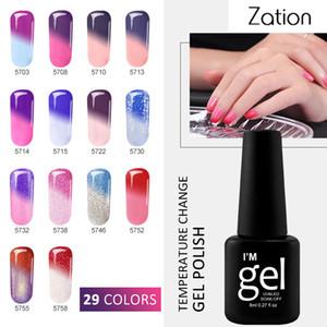 Zation Classic Shiny Nail Polish Geles que cambian de temperatura Gold Gel Glitter Colorido Poly Gel Color Thermo UV Esmalte de uñas
