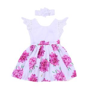 Robes florales filles 2-7 t robe de fleurs manches courtes manches volantes col rond coton tenues de filles d'été