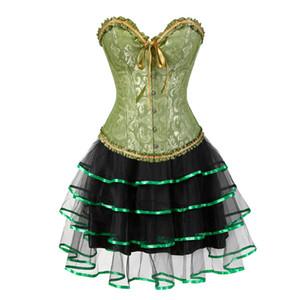 gothique corset et jupe ensemble burlesques taille plus halloween costumes robes corset victorien floral partie 6xl vert sexy de la mode