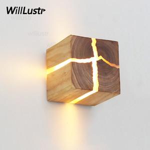 تشقق الخشب الجدار الشمعدان الخشب الطبيعي الجدار مصباح اليابان نمط ضوء غرفة المعيشة مطعم مقهى نوم فندق قاعة الإضاءة
