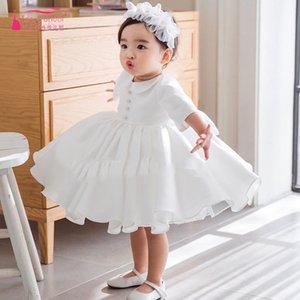 Cetim branco Meninas Flor Vestido Para Festa de casamento Crianças Primeira Comunhão Vestidos holy princess vestidos de baile vestidos pageant ZF117