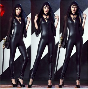 Halloween Black Faux PU Witch Cosplay Conjuntos de ropa Sexy One Piece Playsuits Party Slim Fit
