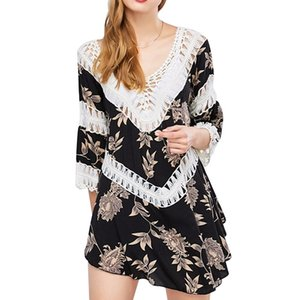 MOSHU Chic Mini Women Linen Dress Plunge Crochet Insert Slit Boho Casual Summer Dress 3 4 Sleeve Knitting Hollow Beach