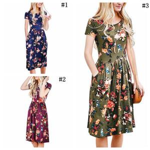 المرأة الصيف الأزهار المطبوعة اللباس س الرقبة خمر نمط قصيرة مضيئة كم الأزهار طباعة فساتين زهرة المساء حزب فساتين 3 ألوان OOA4080