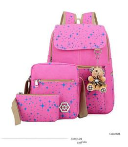 Moda Tela Girl School Borse adolescenti zaino delle donne borse a tracolla 3 pc / Set Zaino Mochila zaino ZDD7175