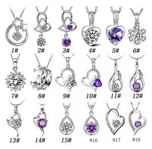 925 Colgante de Plata Colgante, Collar, Moda, Encantos, collares, Colgantes de Cristal en forma de Corazón, Joyería de Alta calidad, MOQ 24 pcs
