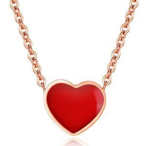 Kırmızı Pembe Aşk Kalp kolye kolye Kadınlar Gelin Düğün Vintage Moda Takı Bayanlar Kısa Zincir kolye ON1350