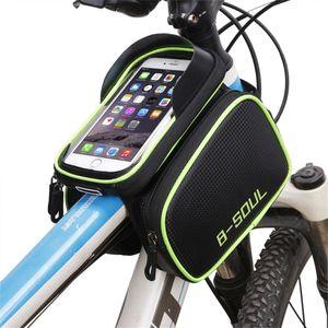B - Cep Telefonu Bisiklet aksesuarları içinde 6.2 için Kafa üstü Tüp Su geçirmez Bisiklet Çanta Çift Kılıfı Bisiklet için SOUL Bisiklet Çerçeve