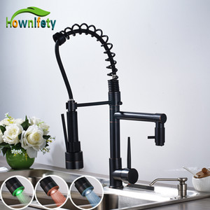 Solid Brass LED Light Kitchen Sink Faucet 360 Degree Rotate 2 Ways Water Outlet Mixer Tap Oil Rubbed Bronze