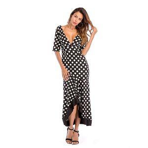 Large Yard Holiday Kleid Mit Unregelmäßigem Design Rüschenkante Kleid Tiefem V-Ausschnitt Backless Langes Kleid Frauen Rock