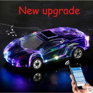 MLL-63 다채로운 크리스탈 LED 라이트 자동차 모양 미니 휴대용 블루투스 무선 스피커 서브 우퍼 스테레오 지원 USB FM 라디오 MP3 음악 플레이어