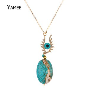 Уникальный синий злой глаз Природные камни Бирюзовые подвески Pave Zircon Золотое ожерелье Модная цепочка для женщин Charm Jewelry