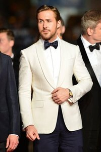 Ivory Mens Suits Slim Fit Groomsmen Wedding Tuxedos Two Pieces Groom Suit Shawl Lapel Celebrity Business Blazers With Jacket And Pants