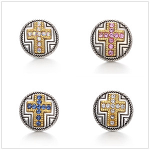 20pcs lot Charm cross Crystal 18mm snap Button Antique Silver Retro Metal Jewelry rhinestone Ginger Snap fit Bracelet Necklace