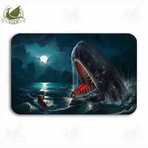 Vixm Jonah E Uma Baleia Um Mergulhador Ao Lado Do Tubarão-baleia Porta De Boas Vindas Tapete De Flanela Antiderrapante Tapete De Banho De Cozinha Interior De Entrada
