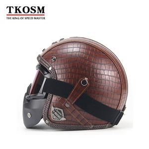 TKOSM Vintage 3/4 cuir Casques Casque de moto Open Face Chopper Casque de vélo Casque de moto Moto Motocros Visor