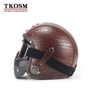 TKOSM Jahrgang 3/4 Lederhelme Motorrad-Sturzhelm-geöffneter Gesichts-Chopper Bike Helm Motorradhelm Moto Motocros Visier