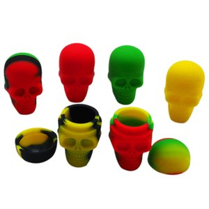 10pcs lot 15ml skull containers assorted color silicone container for Dabs Round Shape Silicone Containers wax Silicone Jars Dab containers