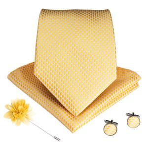 Cravatta in seta da uomo in oro tinta unita con polsini a fazzoletto oro Corsage di lusso a quattro pezzi Set moda spedizione gratuita LDNX0005